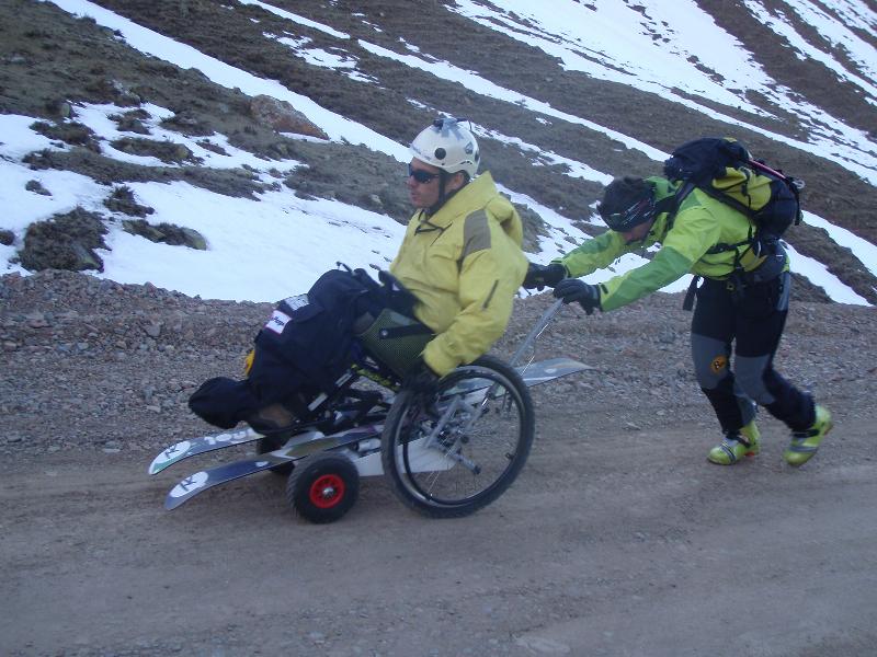 charriot de transport du ski assis
