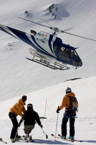 Hélico pour ski assis à Courmayeur