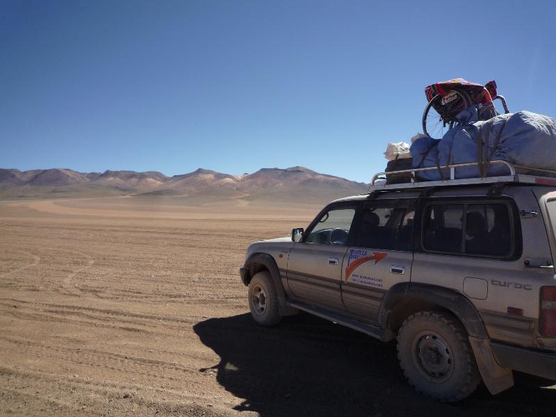Fauteuil roulant au Salar d'Uyuni