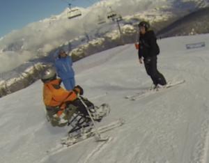 Marc Dufau en ski assis à la Plagne