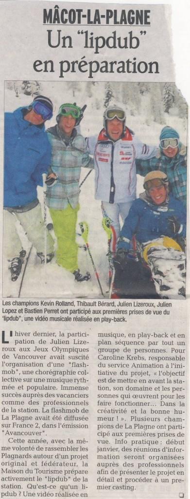 Bastien apparait dans le Dauphiné Libéré avec les sportifs de la Plagne Julien Lizeroux, Kevin Rolland, Thibault Bérard et Julien Lopez